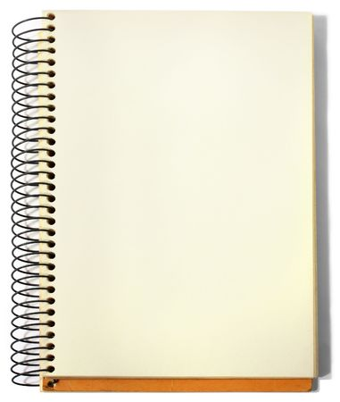 yellow notepad: Spiral sketchbook, opened on a blank page, isolated. Stock Photo