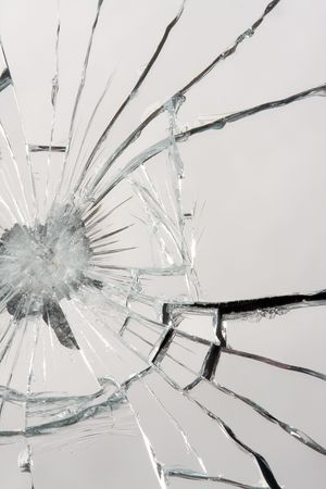 Macro of a shattered mirror. Stock Photo