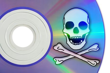 online privacy: Macro of a computer disk, isolated on white, with a Jolly Roger symbol.