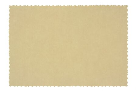 reverse: Reverse side of an old photo print with a decorative border, isolated on white background. Stock Photo