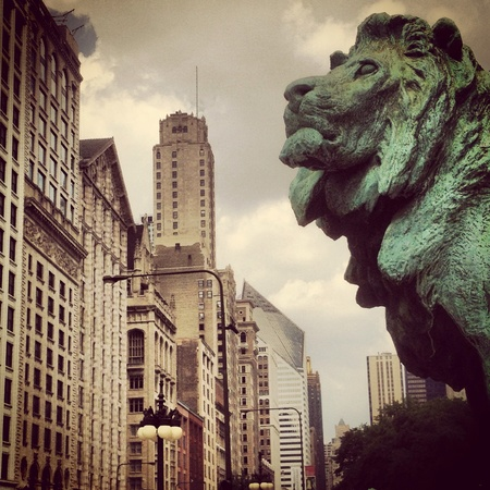 the lion in downtown Chicago
