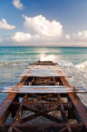 dominican republic: Rusty dock, Caribbeans Stock Photo