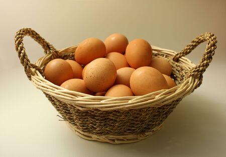 A basket of fresh organic farmyard eggs