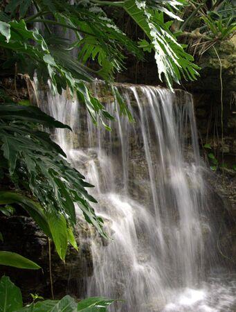바위 위로 계단식으로 외딴 폭포