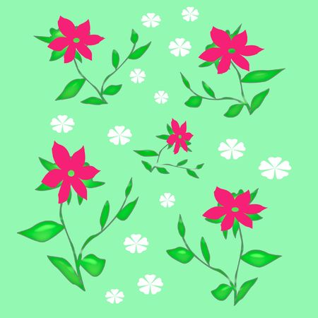 pink flowers and leaves  scattered on green background Stock Photo