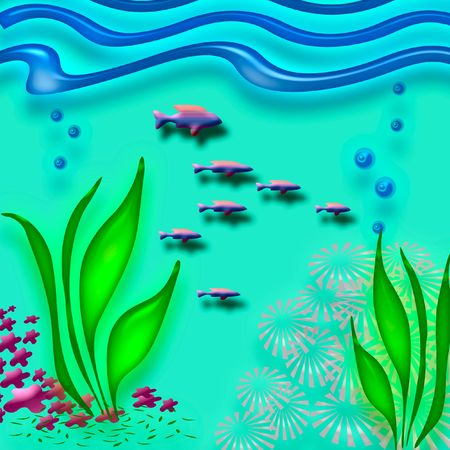 neon fish: colorful fish and coral on aqua background Stock Photo