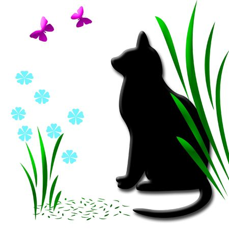 black cat watching pink butterflies in the garden,clip-art, Stock Photo