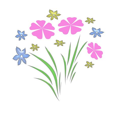 flower garden pink,blue and yellow on white background Stock Photo - 777324
