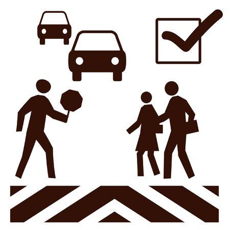 トラフィックとガードの横断歩道での歩行者