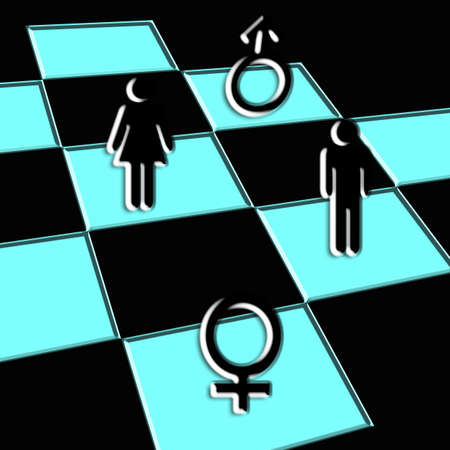 chess board black and blue,game of love Imagens