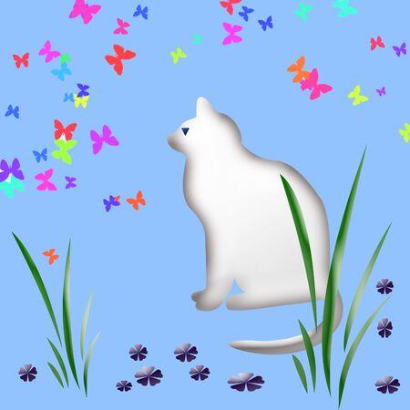 white cat watching  butterflies in the garden,clip-art, Stock Photo - 777292