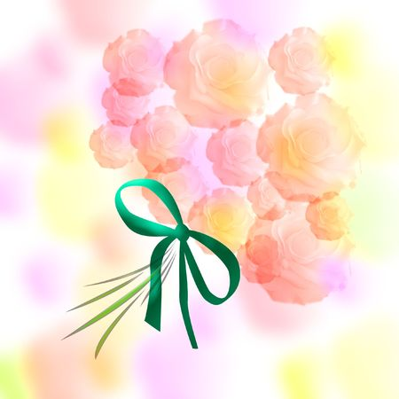 pink flower bouquet with ribbon on mottled background