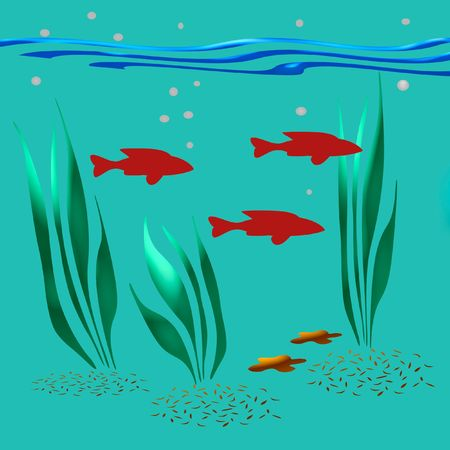neon fish: colorful fish and plants on aqua background