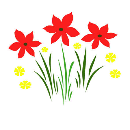 red flowers illustrated