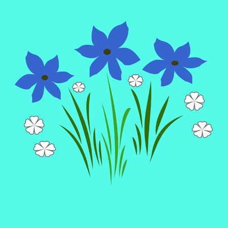 blue flowers illustrated Stock Photo - 798047
