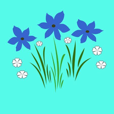 blue flowers illustrated Stock Photo - 798047