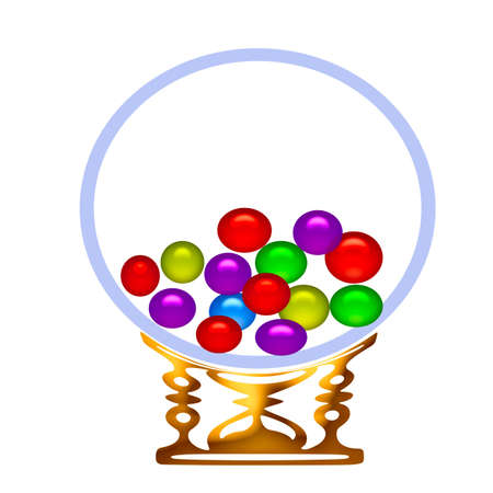 colorful gum balls in glass globe vending machine Stock Photo - 798051