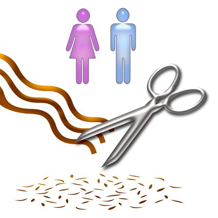 haircut poster scissors and hair on white background