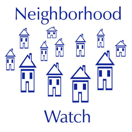 neighborhood watch sign blue houses on white background