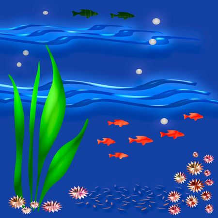 neon fish: colorful fish and plants on blue background
