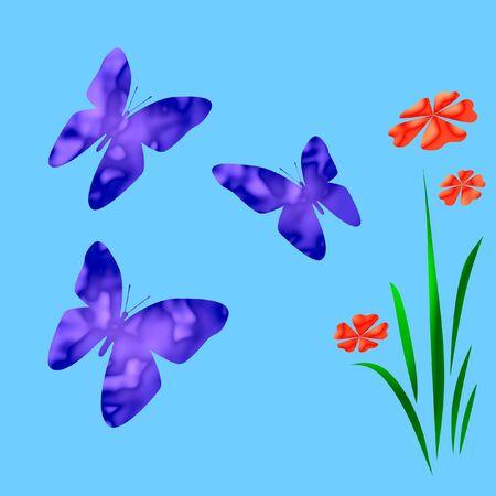 lichte vlinders en bloemen op de achtergrond