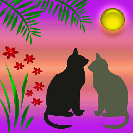 cats and flowers in a moon light garden Stock Photo - 812433