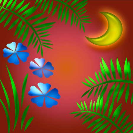 moon shining at sunset in a tropic garden Stock fotó