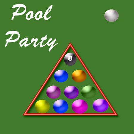 clothing rack: pool party invitation,for game or swim poster fun Stock Photo