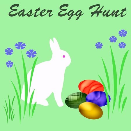 easter egg hunt poster with bunny and flowers