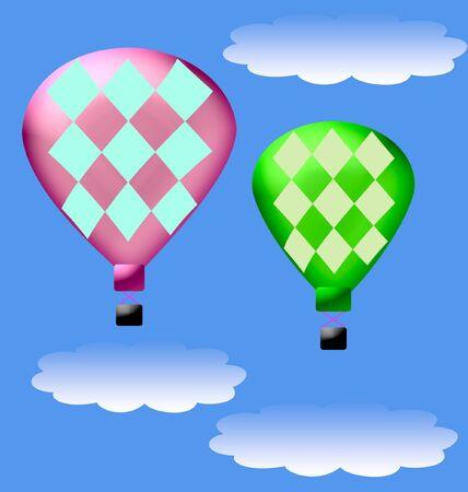 푸른 하늘 그림에서 뜨거운 공기 풍선 스톡 콘텐츠