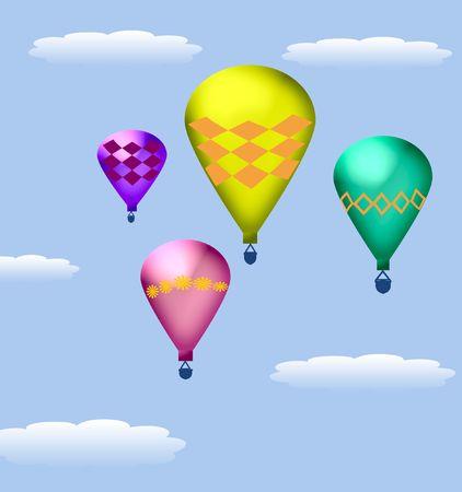 푸른 하늘 그림에서 hotcolorful 뜨거운 공기 풍선 스톡 콘텐츠