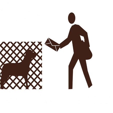 fenced: postman delivering mail and fenced dog Stock Photo