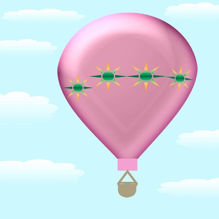 푸른 하늘 그림에서 다채로운 뜨거운 공기 풍선