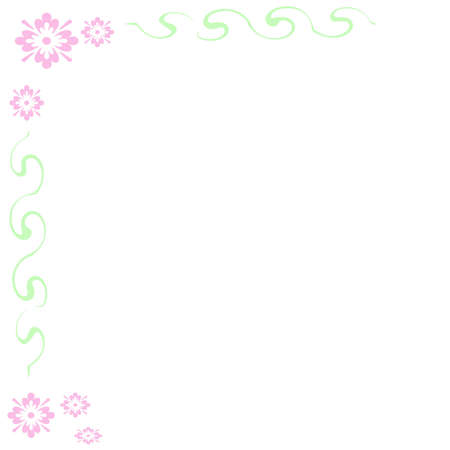 pink abstract flowers and vines  border on blank note  paper Stock Photo - 834908