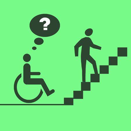 車椅子でのアクセス公共建築物にイラスト入りポスター 写真素材