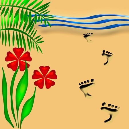 footprints sand: beach vacation flowers and footprints in the sand