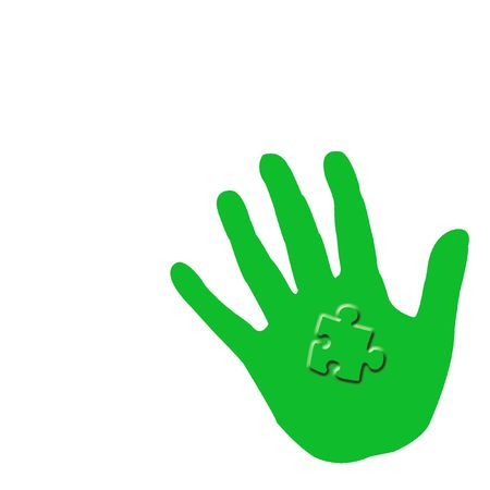 green hand holding a puzzle piece illustrated poster