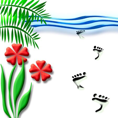 beach vacation flowers and footprints in the sand Stock Photo - 830488