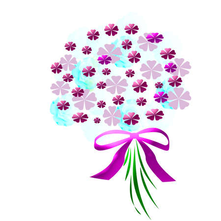 flower bouquet with  pink ribbon on white