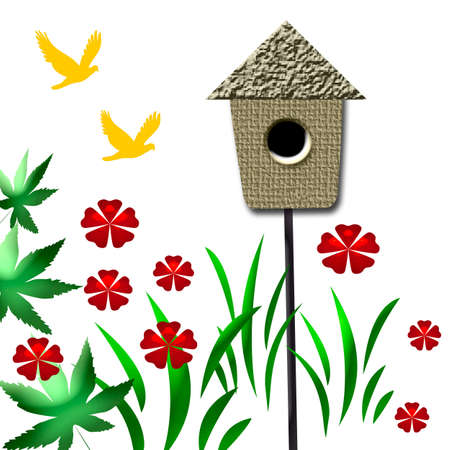 birdhouse in the garden with flowers and birds photo