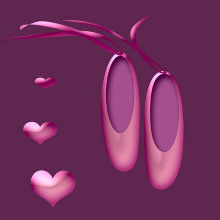 un par de bonitas zapatillas de ballet de color rosa con cintas  Foto de archivo - 844838