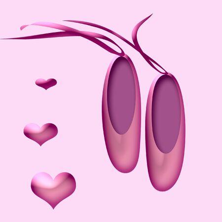 리본이 달린 예쁜 분홍색 발레 슬리퍼 한 켤레 스톡 콘텐츠 - 844835