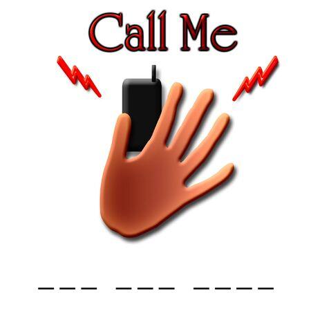 電話を待っている携帯電話を持っている手