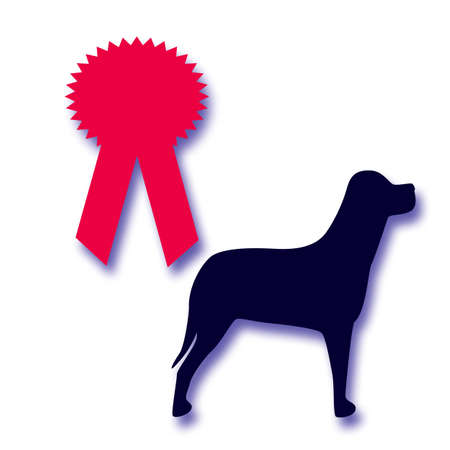 dog show competition award winners red ribbon Stock Photo