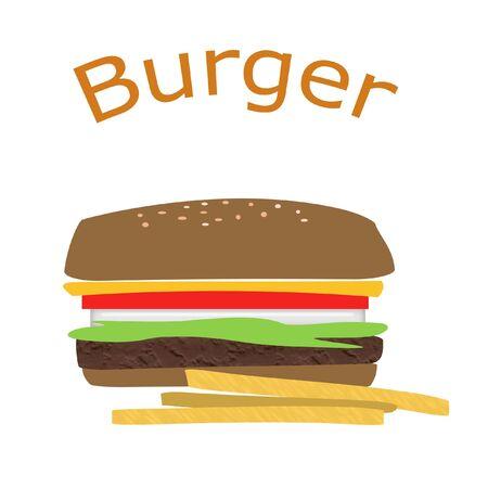 Zusammenfassung hamburger Deluxe mit goldenen Pommes Frites  Standard-Bild - 850683
