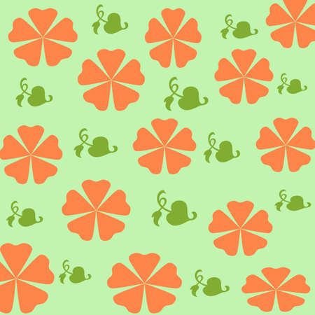 orange flowers and leaves scattered on green background