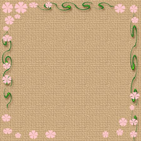abstract flowers and  vines border on textured background