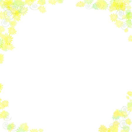 abstract pastel flower border on white background