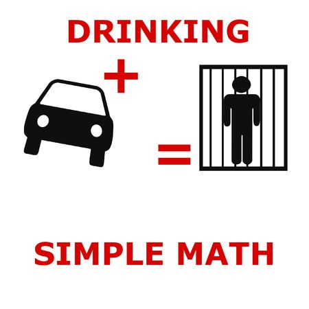 simple math drunk driving poster  black and red Stock Photo