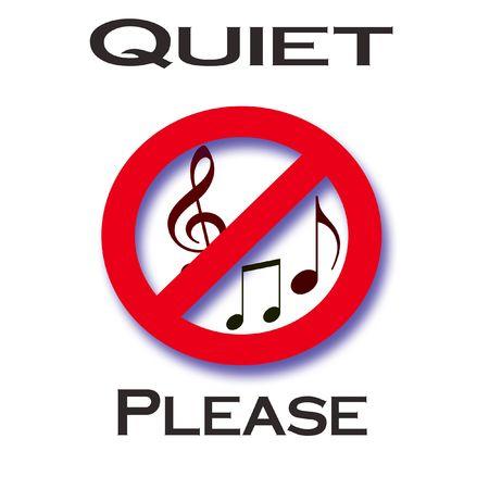 rode muziek noten in slash cirkel rustig alstublieft poster Stockfoto
